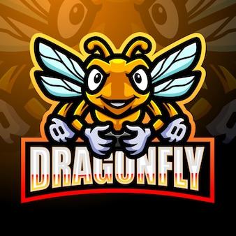 Libelle esport maskottchen logo design