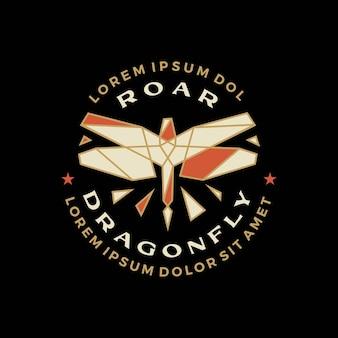 Libelle geometrisches abzeichen t-shirt t-shirt merch logo vektor icon illustration
