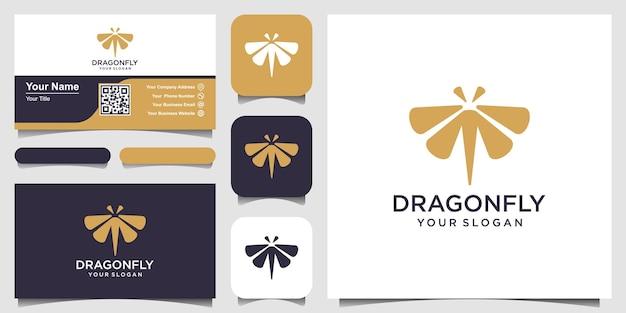 Libelle logo design template line art style und visitenkarte design vector illustration