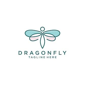 Libelle logo design vorlage strichgrafik stil