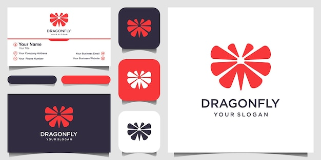 Libelle-logo-design-vorlage und visitenkarten-design-vektor-illustration