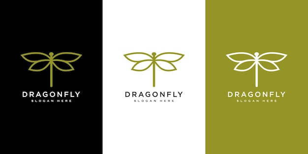 Libelle-logo-vektor-design-linienstil