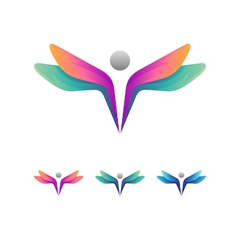 Libelle + menschen logo konzept