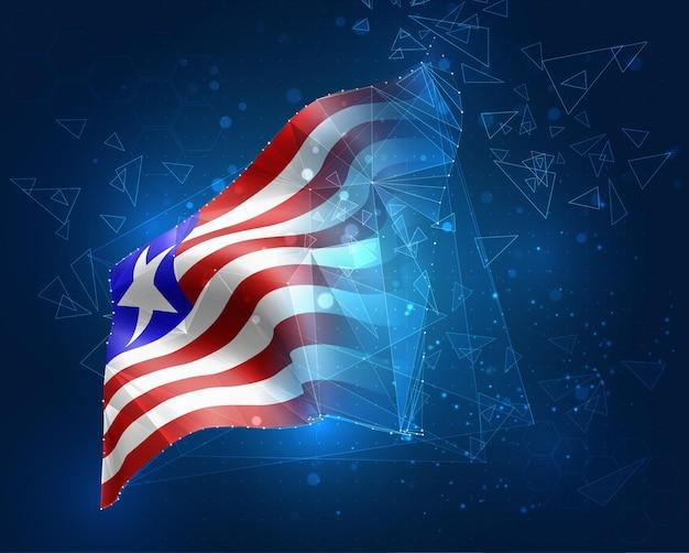 Liberia, vektorflagge, virtuelles abstraktes 3d-objekt aus dreieckigen polygonen auf blauem hintergrund