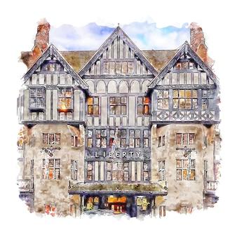 Liberty london aquarell skizze hand gezeichnet
