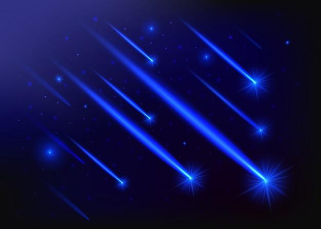Licht des fallens eines meteoriten in der galaxie.
