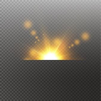 Licht hervorheben gelben spezialeffekt mit lichtstrahlen und funkeln. sonnenstrahl. glow transparentes lichteffektset, explosion, glanz, funke, sonneneruption.