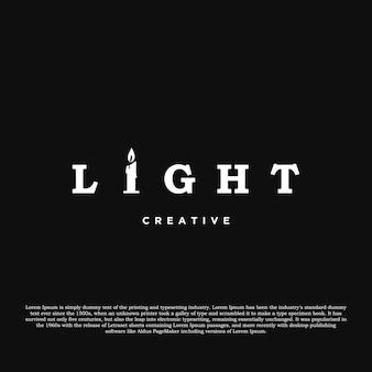Licht-logo-design-vektor-licht mit kerze kreatives logo auf schwarzem hintergrund isoliert
