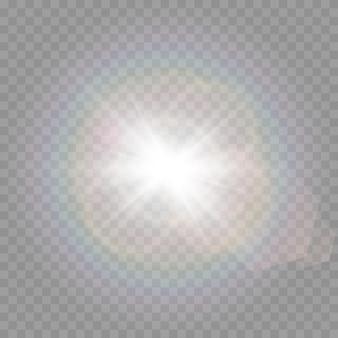 Licht mit blendung auf transparentem hintergrund