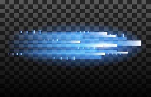 Licht und streifen bewegen sich schnell über dunklem hintergrund.