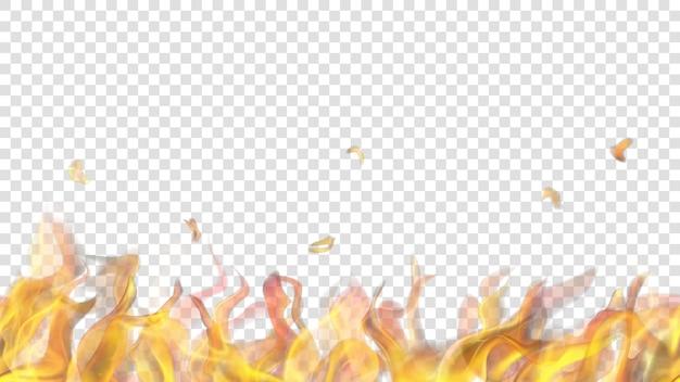 Lichtdurchlässige feuerflamme mit horizontaler nahtloser wiederholung auf transparentem hintergrund. für den einsatz auf hellen hintergründen. transparenz nur im vektorformat