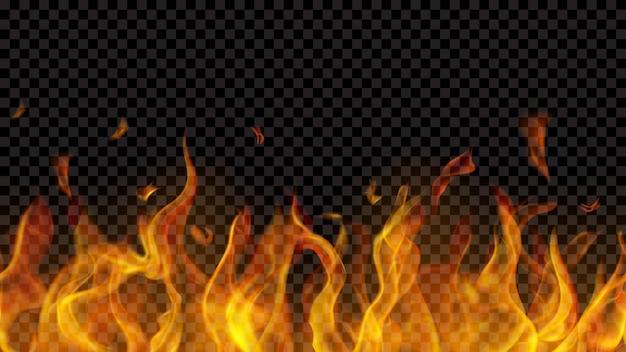 Lichtdurchlässige feuerflamme mit horizontaler nahtloser wiederholung auf transparentem hintergrund. zur verwendung auf dunklen hintergründen. transparenz nur im vektorformat
