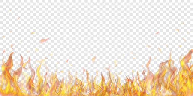 Lichtdurchlässige feuerflammen und funken auf transparentem hintergrund. zur verwendung auf hellen illustrationen. transparenz nur im vektorformat