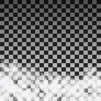 Lichtdurchlässige rauchwolkenschablone auf einem transparenten hintergrund. vektor-illustration