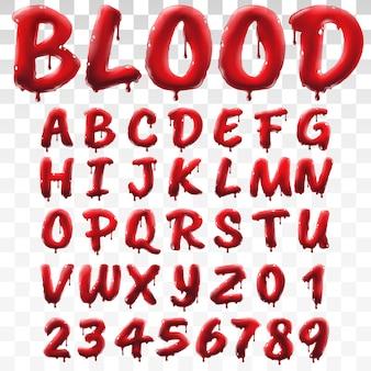 Lichtdurchlässiges blutiges alphabet lokalisiert auf transparentem hintergrund