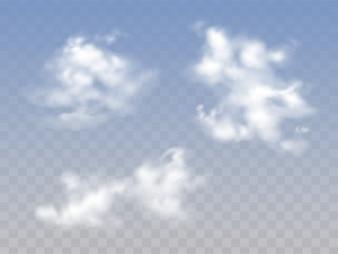 Lichtdurchlässiger blauer bewölkter Himmel mit realistischen flaumigen Wolken