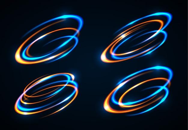 Lichteffekt. der lichtschlag des objekts. zirkularlinseneffekt. abstrakte rotationslinien. energieelement.
