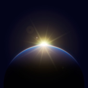 Lichteffekt des glühenden erdsonnenaufgangs