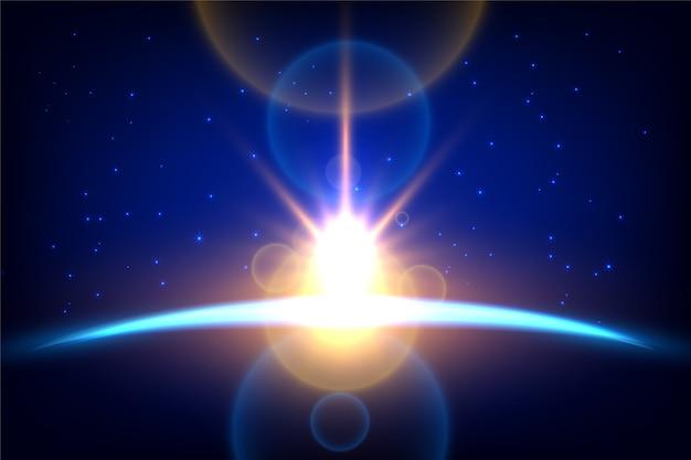 Lichteffekt des sonnenaufgangs der leuchtenden erde