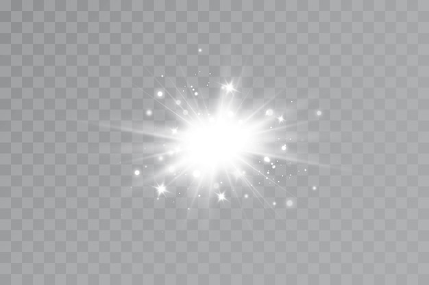 Lichteffekt. heller stern. licht explodiert auf einem transparenten hintergrund. helle sonne.
