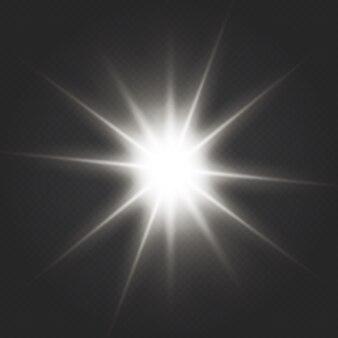 Lichteffekt spezialeffekt mit lichtstrahlen und magischen glitzern. glimmlicht