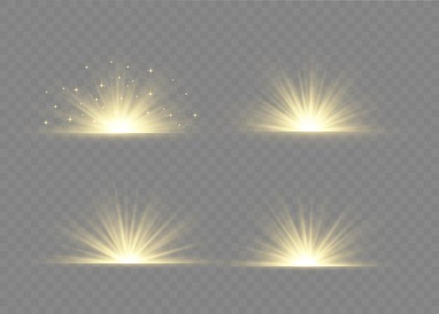 Lichteffekt spezialeffekt mit lichtstrahlen und magischen glitzern.