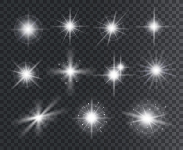 Lichteffekt. weiße sternfunken, helles aufflackern mit strahlen. magisch glühende staubpartikel. isolierte menge der abstrakten elemente der weihnachten.