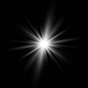 Lichteffekte. weiß leuchtendes licht platzte explosion.