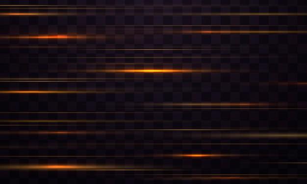 Lichteffektlinienstreifen. gelbe horizontale linseneffekte