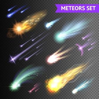 Lichteffektsammlung mit kometenmeteoren und feuerbällen lokalisiert auf transparentem hintergrund