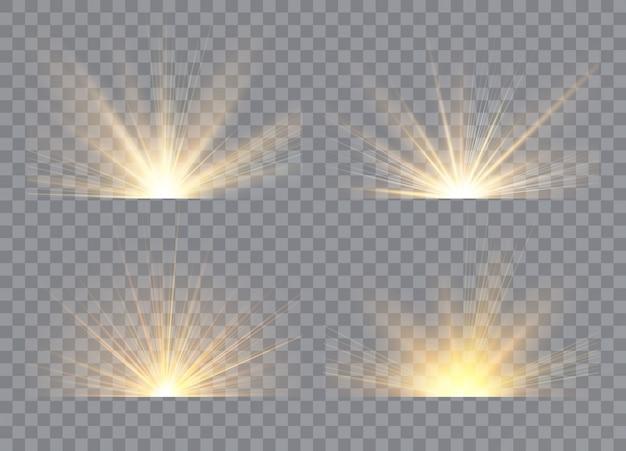 Lichteffektsterne platzen. sonnenaufgang, morgendämmerung. transparentes sonnenlicht. konzept für illustrationsschablonenkunstdesign, banner für weihnachten, feiern