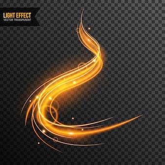 Lichteffektvektor transparent mit goldenen scheinen