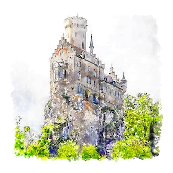 Lichtenstein castle germany aquarell skizze hand gezeichnete illustration