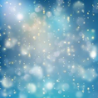 Lichter auf blauem hintergrund bokeh-effekt. und beinhaltet auch