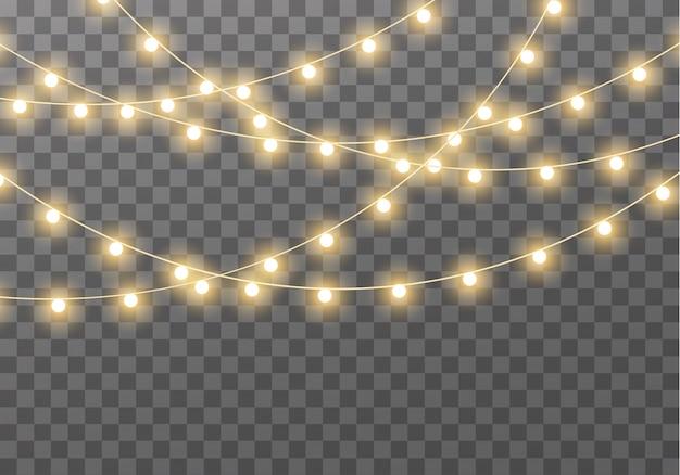 Lichter isoliert auf transparentem hintergrund für karten, banner, plakate, webdesign. satz golden leuchtende girlande led neonlampe illustration