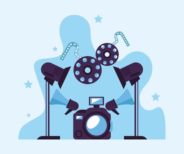 Lichter mit videoproduktionsset-symbolen Premium Vektoren