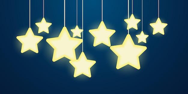 Lichterketten und helle sterne festliche feierillustration