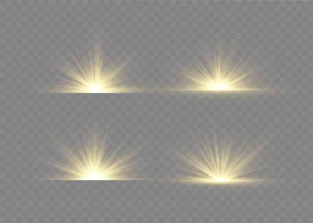 Lichtfackel mit lichtstrahlen. glow transparentes lichtset.