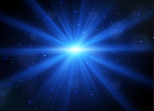 Lichtfackel mit lichtstrahlen. glühen sie transparentes licht.