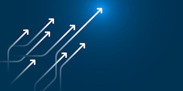 Lichtpfeilschaltung auf blauer hintergrundillustration, geschäftswachstumskonzept.