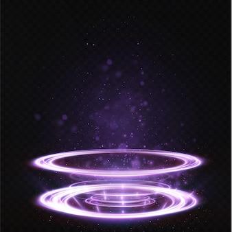 Lichtpodium ist leer mit den effekten des blauen linienhighlights. beleuchteter podest-neonsockel.