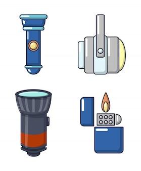 Lichtquelle-icon-set. karikatursatz lichtquellenvektorikonen eingestellt lokalisiert