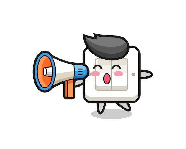 Lichtschalter-charakterillustration, die ein megaphon hält, niedliches design für t-shirt, aufkleber, logo-element