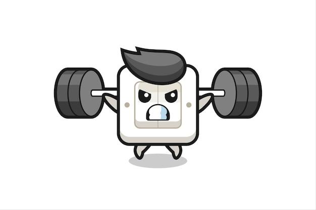 Lichtschalter-maskottchen-cartoon mit einer langhantel, süßes design für t-shirt, aufkleber, logo-element