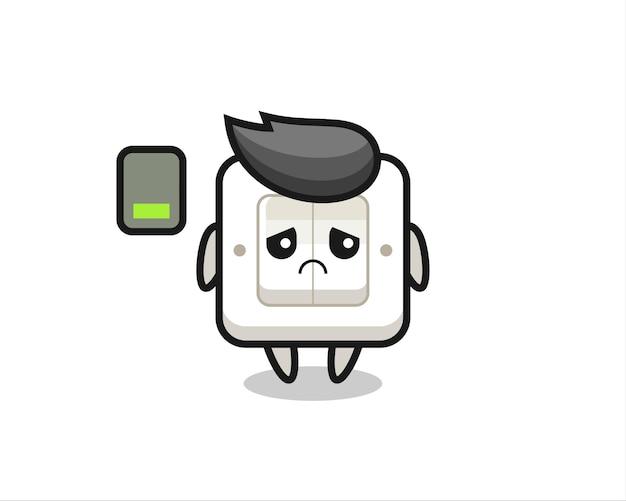 Lichtschalter-maskottchen-charakter, der eine müde geste macht, niedliches design für t-shirt, aufkleber, logo-element