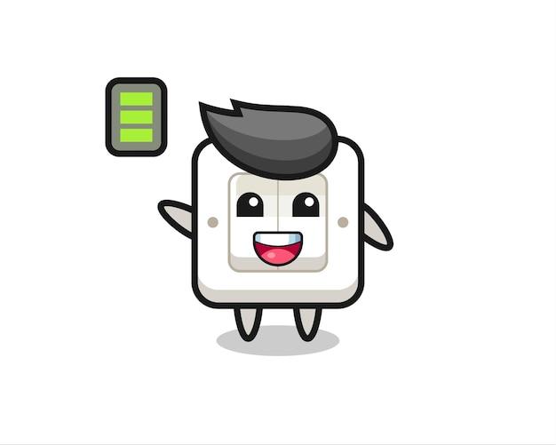 Lichtschalter-maskottchen-charakter mit energischer geste, süßes design für t-shirt, aufkleber, logo-element