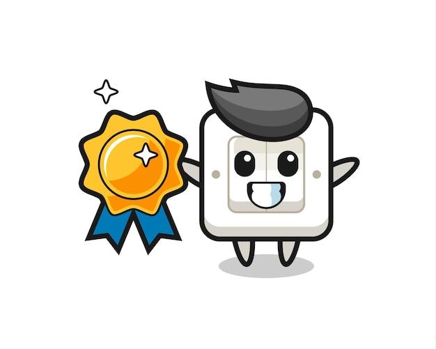 Lichtschalter-maskottchen-illustration mit goldenem abzeichen, süßes design für t-shirt, aufkleber, logo-element