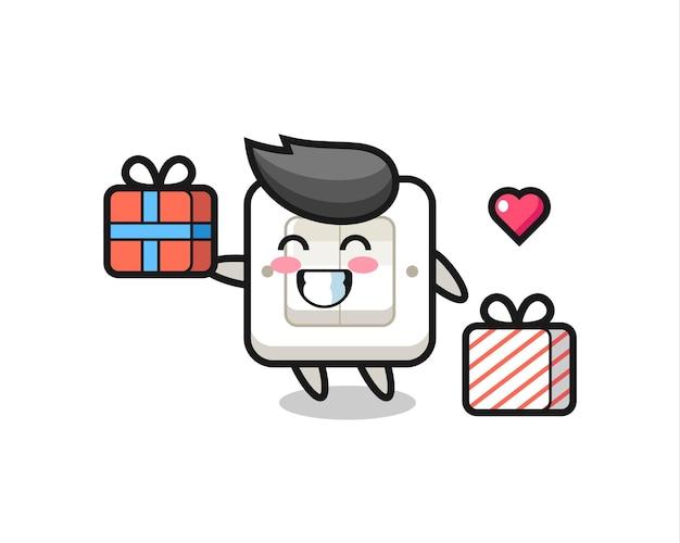 Lichtschalter-maskottchen-karikatur, die das geschenk gibt, niedliches design für t-shirt, aufkleber, logo-element