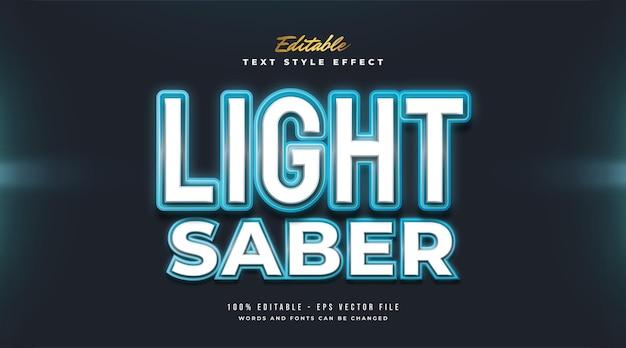 Lichtschwert-textstil mit leuchtendem neoneffekt Premium Vektoren