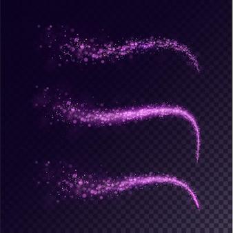 Lichtspur wirbeln staub rosa png magischer hellrosa komet in der vereinigung von kleinem bokeh-staub